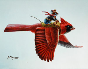 Mouse flying on back of a cardinal