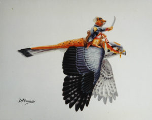 Soldier mouse with sword riding on the back of a kestral
