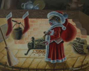 Santa mouse standing by a hearth