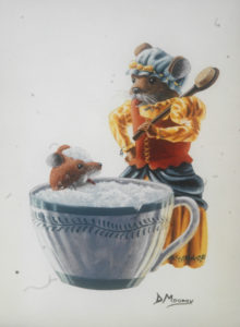 Young mouse getting a bubble bath in a chipped teacup. Mother mouse holds a scrub brush.