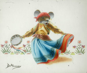 Gypsy dancing mouse with a tamborine