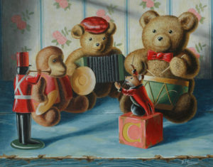 Mouse conducting a band composed of toys