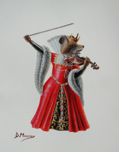 Flashy violin-playing queen mouse