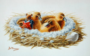 """Mouse reading """"The Ugly Duckling"""" to nest of ducklings"""