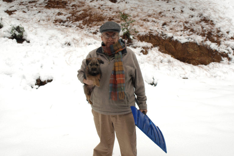 David Mooney and young Bertie in the snow