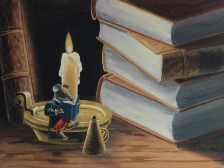 Mouse reading by candlelight by a stack of books